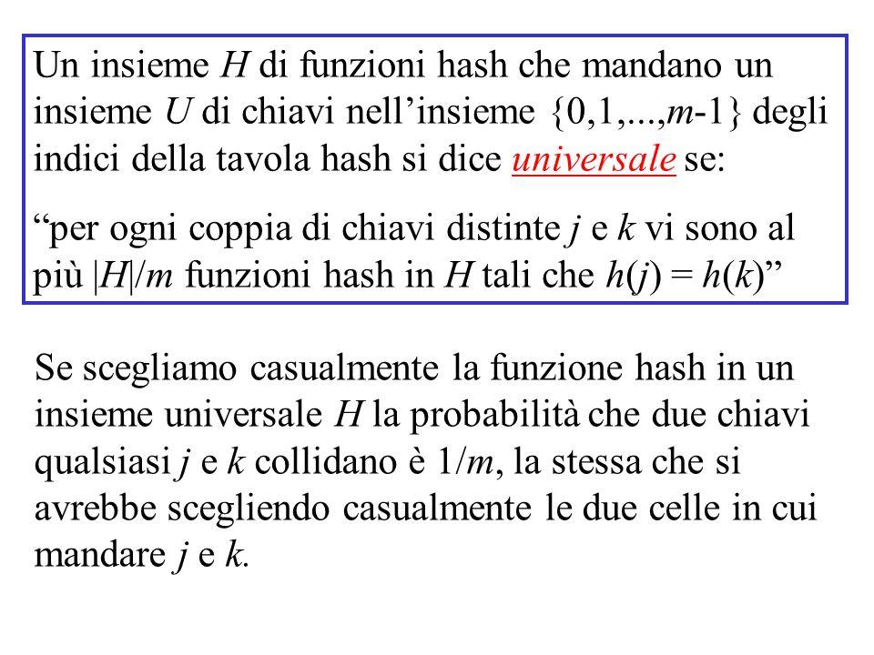 Un insieme H di funzioni hash che mandano un insieme U di chiavi nell'insieme {0,1,...,m-1} degli indici della tavola hash si dice universale se: per ogni coppia di chiavi distinte j e k vi sono al più |H|/m funzioni hash in H tali che h(j) = h(k) Se scegliamo casualmente la funzione hash in un insieme universale H la probabilità che due chiavi qualsiasi j e k collidano è 1/m, la stessa che si avrebbe scegliendo casualmente le due celle in cui mandare j e k.