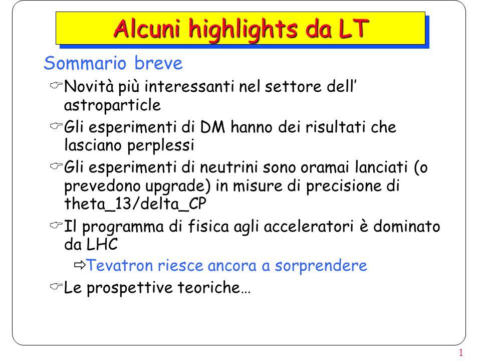 1 Alcuni highlights da LT  Sommario breve  Novità più interessanti nel settore dell' astroparticle  Gli esperimenti di DM hanno dei risultati che lasciano perplessi  Gli esperimenti di neutrini sono oramai lanciati (o prevedono upgrade) in misure di precisione di theta_13/delta_CP  Il programma di fisica agli acceleratori è dominato da LHC  Tevatron riesce ancora a sorprendere  Le prospettive teoriche…