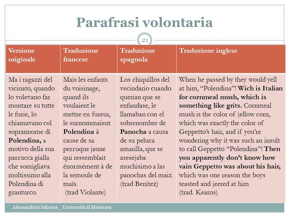 Parafrasi volontaria Alessandrini Sabrina _ Università di Macerata 21 Versione originale Traduzione francese Traduzione spagnola Traduzione inglese Ma
