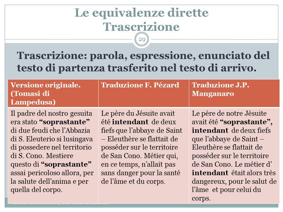 Le equivalenze dirette Trascrizione Alessandrini Sabrina _ Università di Macerata 29 Trascrizione: parola, espressione, enunciato del testo di partenza trasferito nel testo di arrivo.