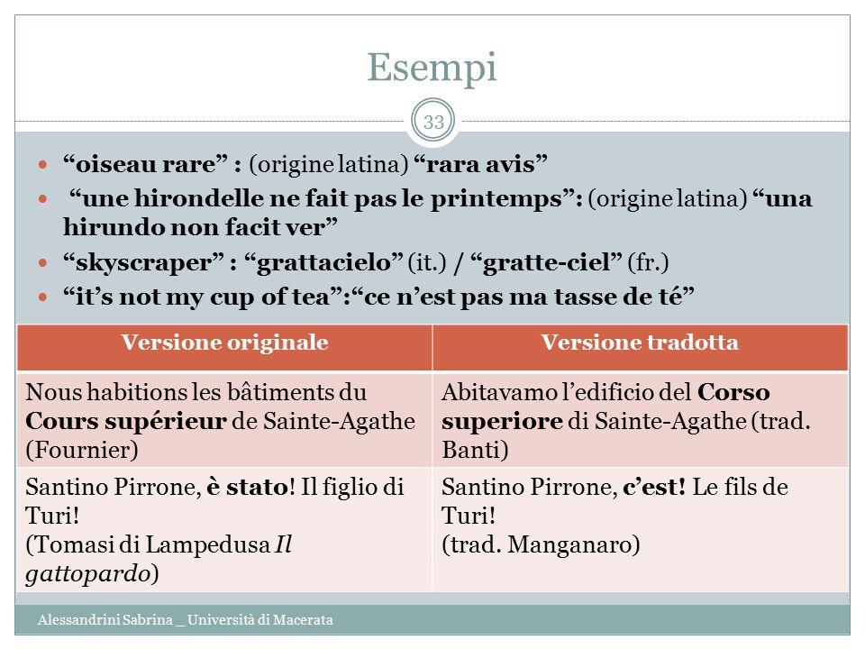 "Esempi Alessandrini Sabrina _ Università di Macerata 33 ""oiseau rare"" : (origine latina) ""rara avis"" ""une hirondelle ne fait pas le printemps"": (origi"