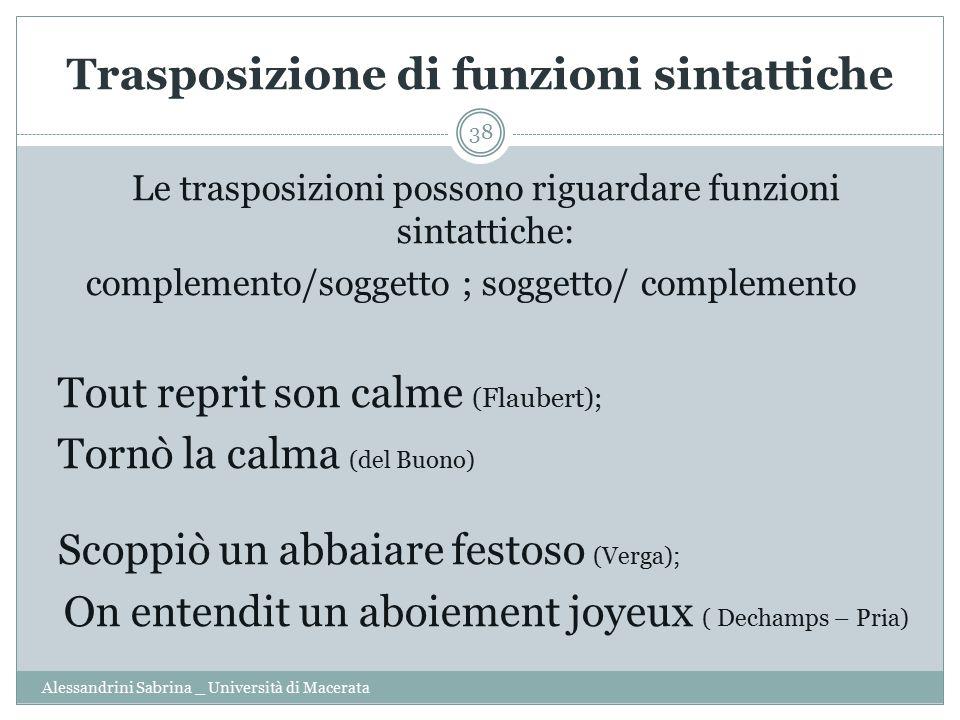 Trasposizione di funzioni sintattiche Alessandrini Sabrina _ Università di Macerata 38 Le trasposizioni possono riguardare funzioni sintattiche: compl