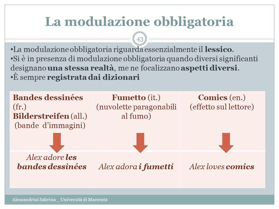 La modulazione obbligatoria Alessandrini Sabrina _ Università di Macerata 43 Bandes dessinées (fr.) Bilderstreifen (all.) (bande d'immagini) Fumetto (