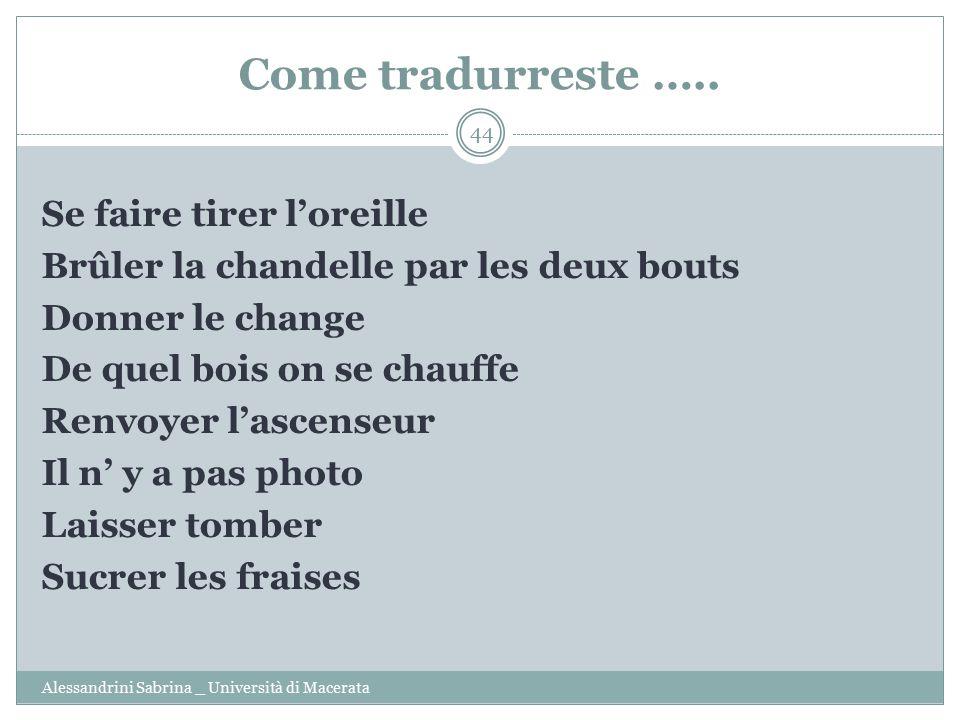 Come tradurreste …..
