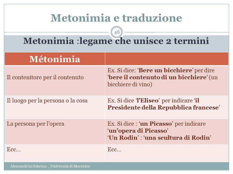 Metonimia e traduzione Alessandrini Sabrina _ Università di Macerata 46 Metonimia :legame che unisce 2 termini Métonimia Il contenitore per il contenuto Ex.