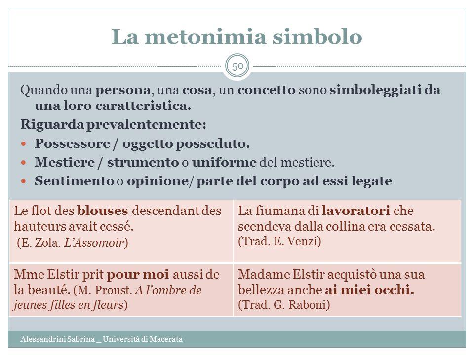 La metonimia simbolo Alessandrini Sabrina _ Università di Macerata 50 Quando una persona, una cosa, un concetto sono simboleggiati da una loro caratteristica.