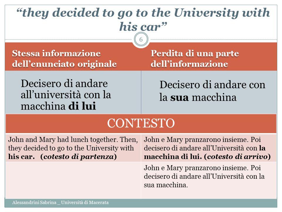 Stessa informazione dell'enunciato originale Perdita di una parte dell'informazione Alessandrini Sabrina _ Università di Macerata Decisero di andare a