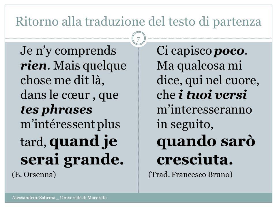 Ritorno alla traduzione del testo di partenza Alessandrini Sabrina _ Università di Macerata 7 Je n'y comprends rien. Mais quelque chose me dit là, dan