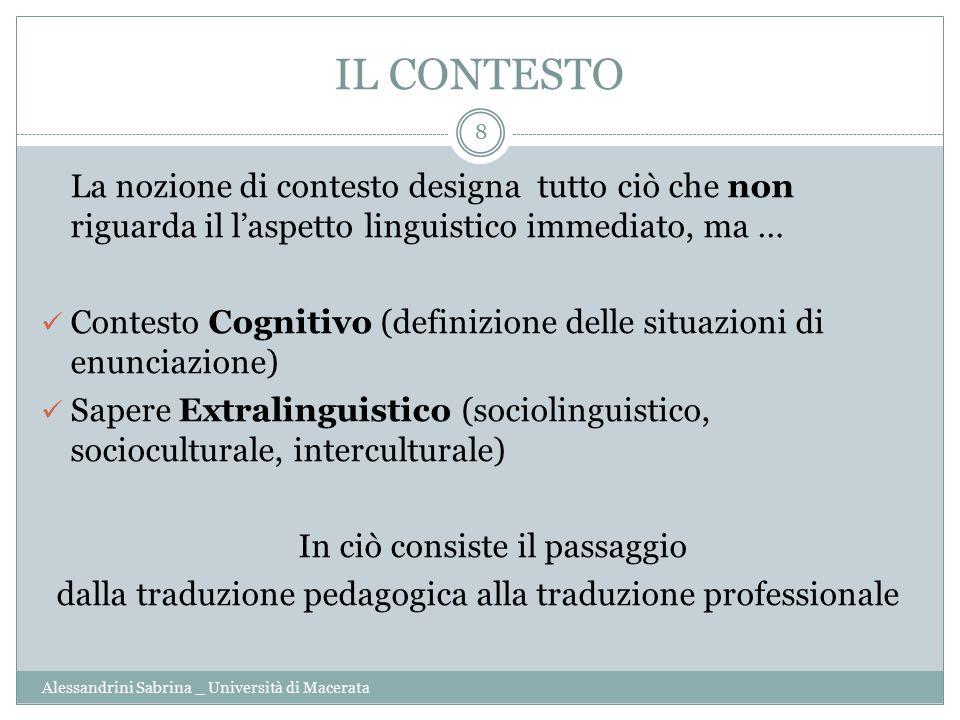IL CONTESTO Alessandrini Sabrina _ Università di Macerata 8 La nozione di contesto designa tutto ciò che non riguarda il l'aspetto linguistico immedia