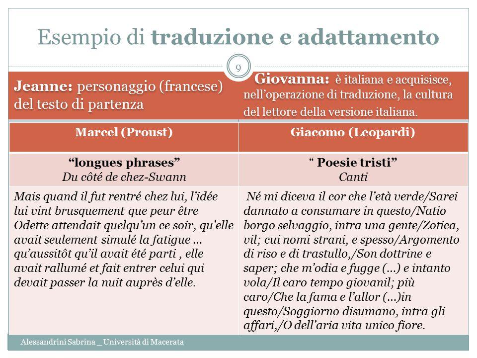 Jeanne: personaggio (francese) del testo di partenza Giovanna: è italiana e acquisisce, nell'operazione di traduzione, la cultura del lettore della ve