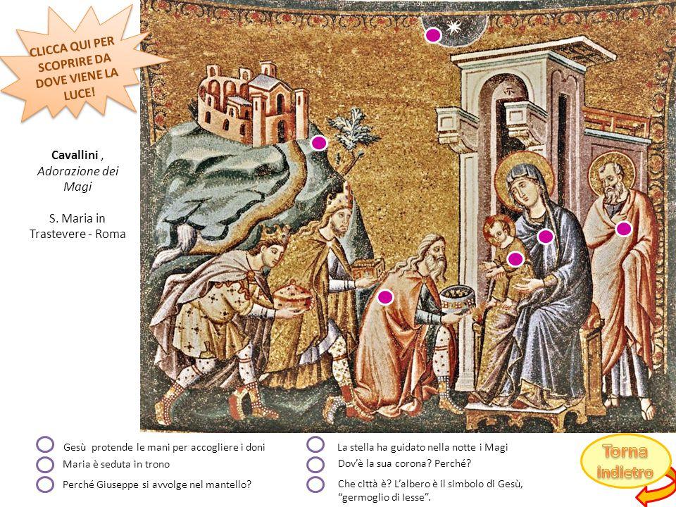 I punti luce sono tanti: il neonato Gesù, il sole dell'alba, le ali dell'angelo, l'arcobaleno formato tra le ali dell'angelo!