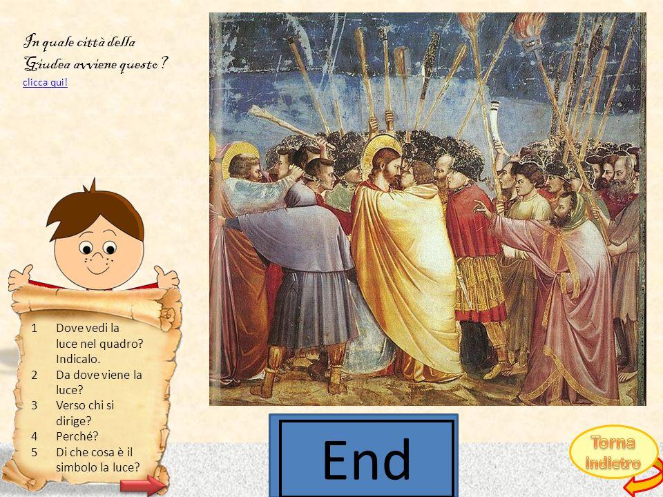 Giotto di Bondone, Il bacio di Giuda CLICCA QUI PER SCOPRIRE DA DOVE VIENE LA LUCE.