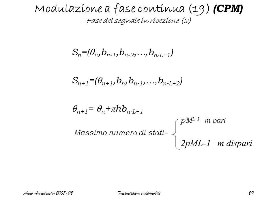 Anno Accademico 2007-08Trasmissioni radiomobili29 Modulazione a fase continua (19) (CPM) Fase del segnale in ricezione (2) S n =(  n,b n-1,b n-2,…,b n-L+1 ) S n+1 =(  n+1,b n,b n-1,…,b n-L+2 )  n+1 =  n +  hb n-L+1 Massimo numero di stati= pM L-1 m pari 2pML-1 m dispari