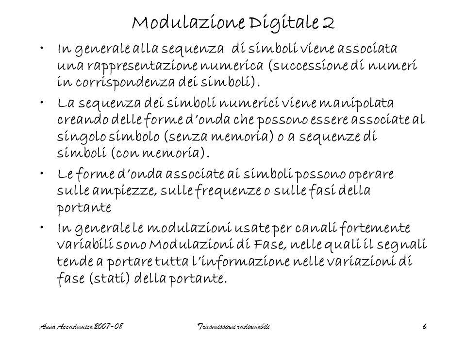 Anno Accademico 2007-08Trasmissioni radiomobili6 Modulazione Digitale 2 In generale alla sequenza di simboli viene associata una rappresentazione numerica (successione di numeri in corrispondenza dei simboli).