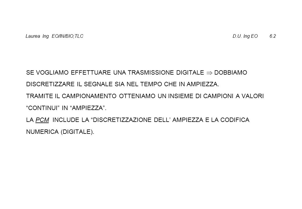 Laurea Ing EO/IN/BIO;TLC D.U.Ing EO 6.13 PCM VOCE,8 bit PER CAMPIONE.