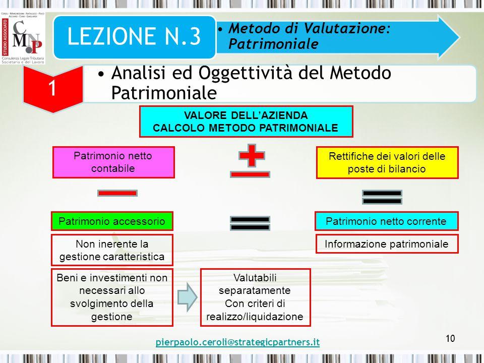 pierpaolo.ceroli@strategicpartners.it 10 Metodo di Valutazione: Patrimoniale LEZIONE N.3 1 Analisi ed Oggettività del Metodo Patrimoniale VALORE DELL'