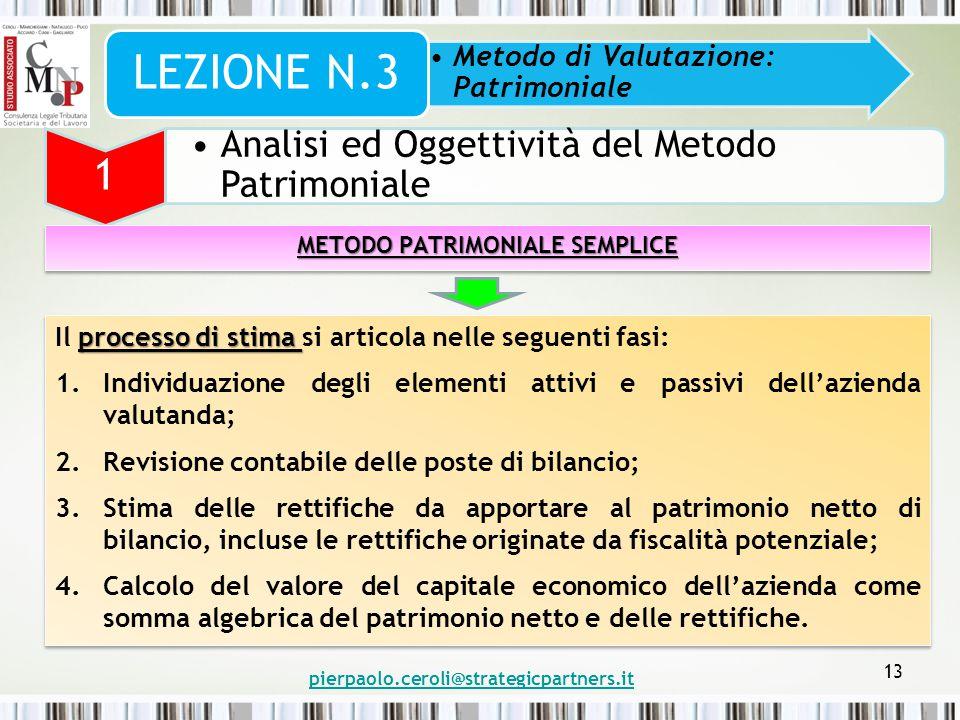 pierpaolo.ceroli@strategicpartners.it 13 Metodo di Valutazione: Patrimoniale LEZIONE N.3 1 Analisi ed Oggettività del Metodo Patrimoniale METODO PATRI