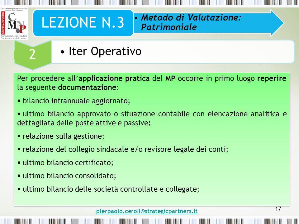 pierpaolo.ceroli@strategicpartners.it 17 Metodo di Valutazione: Patrimoniale LEZIONE N.3 2 Iter Operativo Per procedere all'applicazione pratica del M