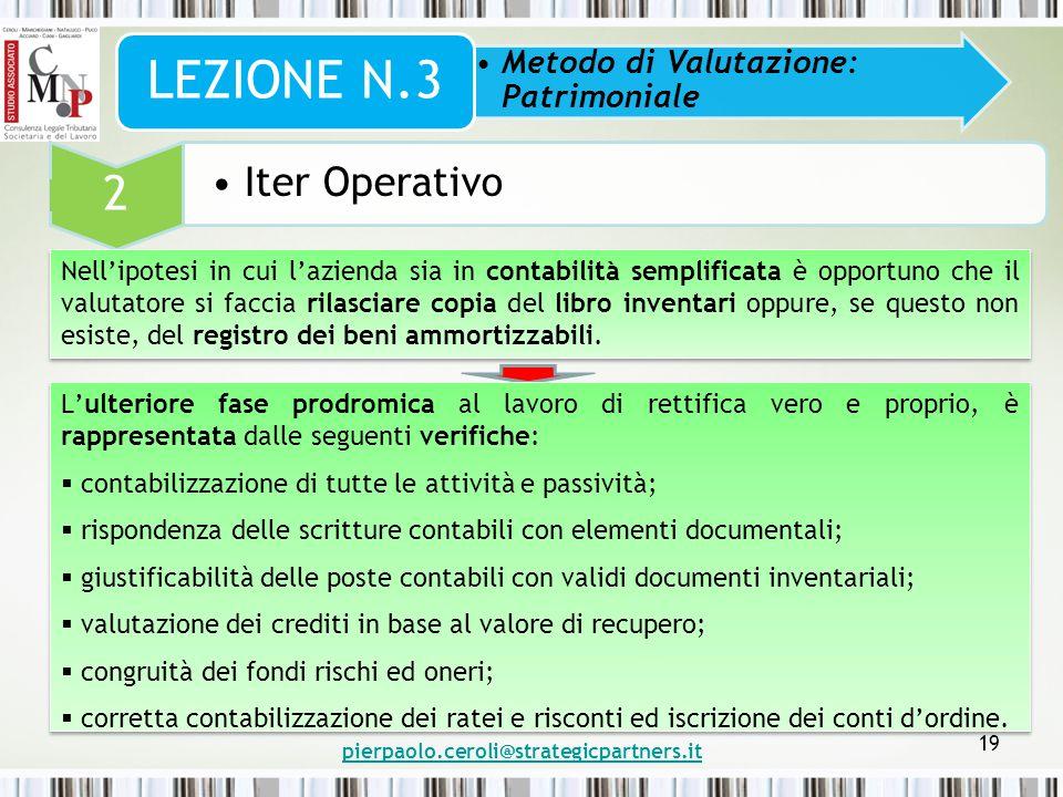 pierpaolo.ceroli@strategicpartners.it 19 Metodo di Valutazione: Patrimoniale LEZIONE N.3 2 Iter Operativo Nell'ipotesi in cui l'azienda sia in contabi