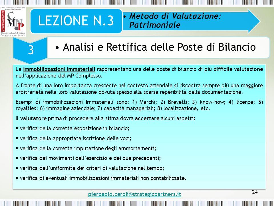pierpaolo.ceroli@strategicpartners.it 24 Metodo di Valutazione: Patrimoniale LEZIONE N.3 3 Analisi e Rettifica delle Poste di Bilancio Immobilizzazion