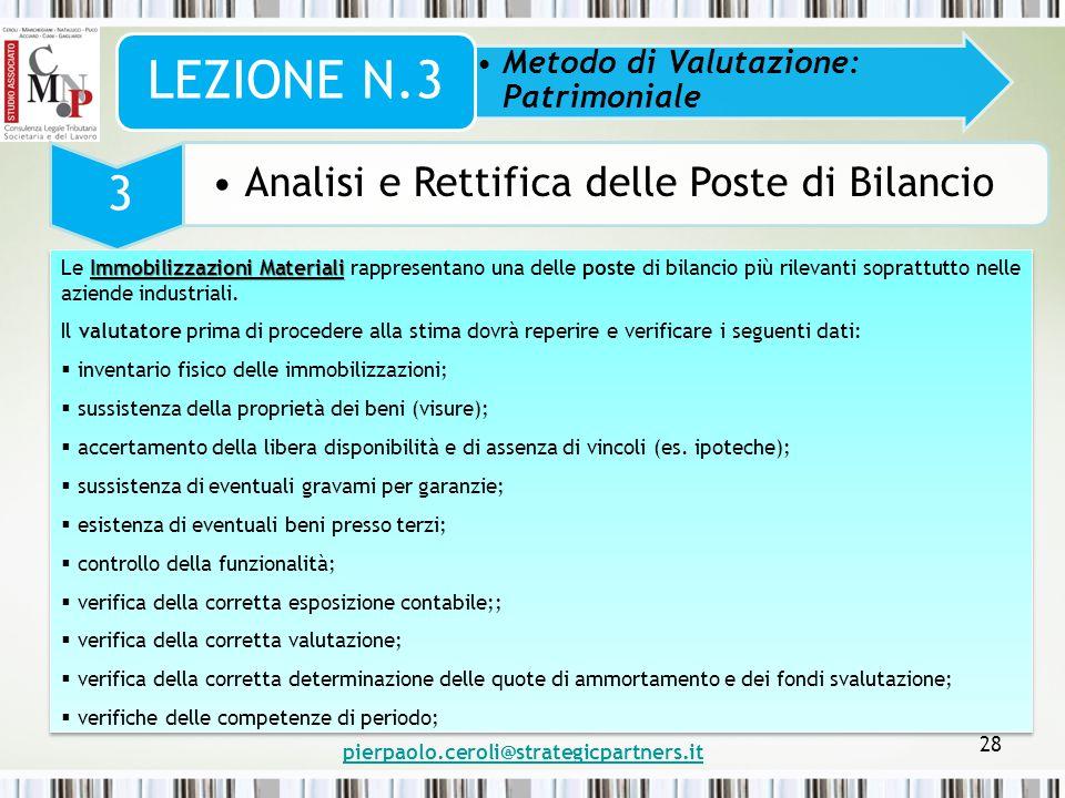 pierpaolo.ceroli@strategicpartners.it 28 Metodo di Valutazione: Patrimoniale LEZIONE N.3 3 Analisi e Rettifica delle Poste di Bilancio Immobilizzazion