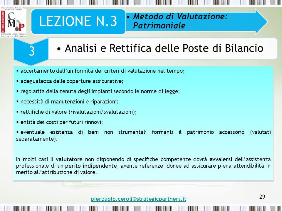 pierpaolo.ceroli@strategicpartners.it 29 Metodo di Valutazione: Patrimoniale LEZIONE N.3 3 Analisi e Rettifica delle Poste di Bilancio  accertamento