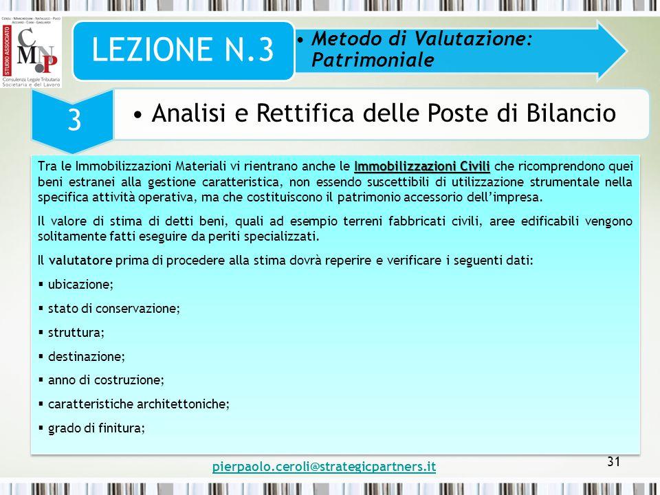 pierpaolo.ceroli@strategicpartners.it 31 Metodo di Valutazione: Patrimoniale LEZIONE N.3 3 Analisi e Rettifica delle Poste di Bilancio Immobilizzazion