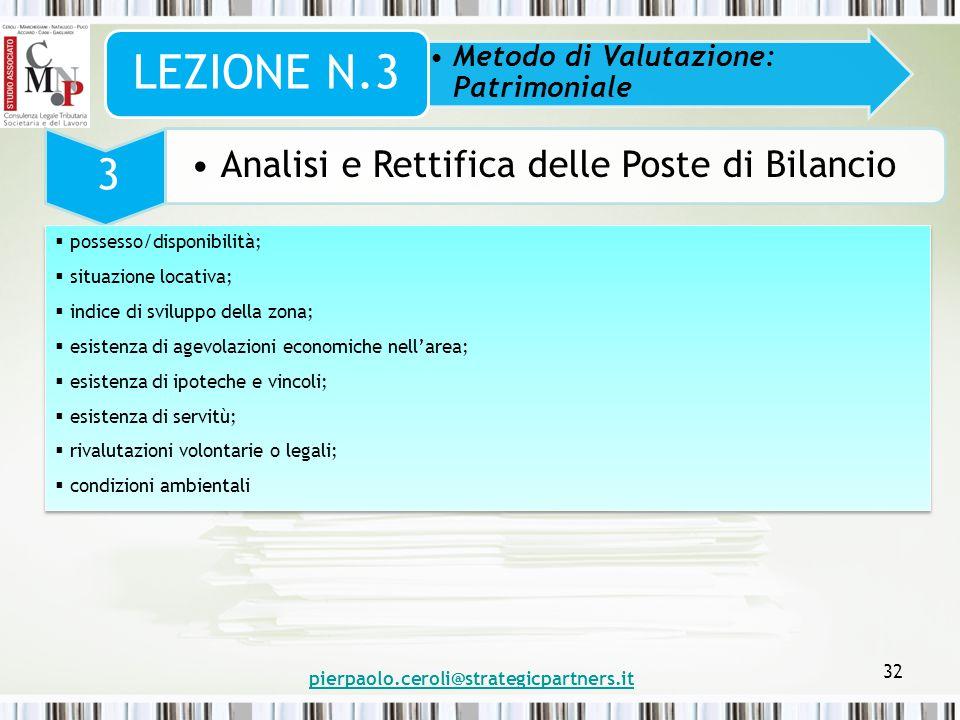 pierpaolo.ceroli@strategicpartners.it 32 Metodo di Valutazione: Patrimoniale LEZIONE N.3 3 Analisi e Rettifica delle Poste di Bilancio  possesso/disp