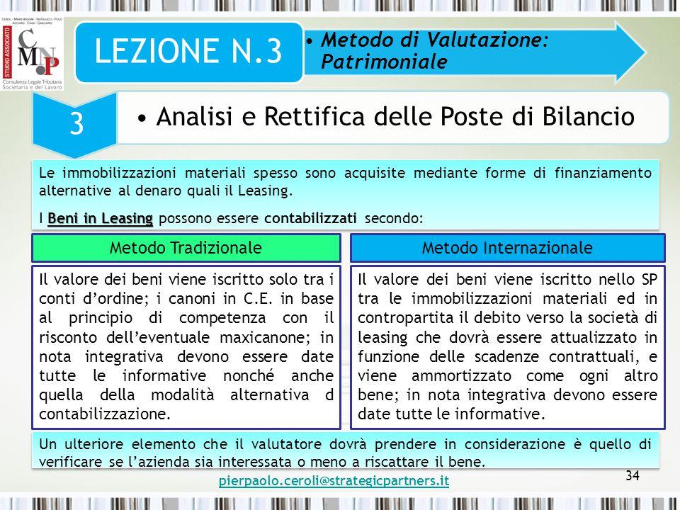 pierpaolo.ceroli@strategicpartners.it 34 Metodo di Valutazione: Patrimoniale LEZIONE N.3 3 Analisi e Rettifica delle Poste di Bilancio Le immobilizzaz