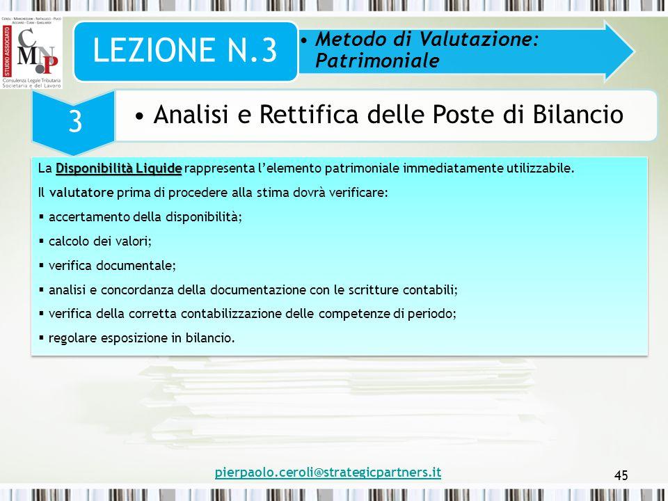 pierpaolo.ceroli@strategicpartners.it 45 Metodo di Valutazione: Patrimoniale LEZIONE N.3 3 Analisi e Rettifica delle Poste di Bilancio Disponibilità L