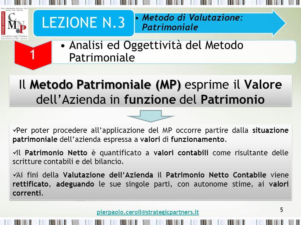 5 Metodo Patrimoniale (MP) Il Metodo Patrimoniale (MP) esprime il Valore dell'Azienda in funzione del Patrimonio Metodo di Valutazione: Patrimoniale L