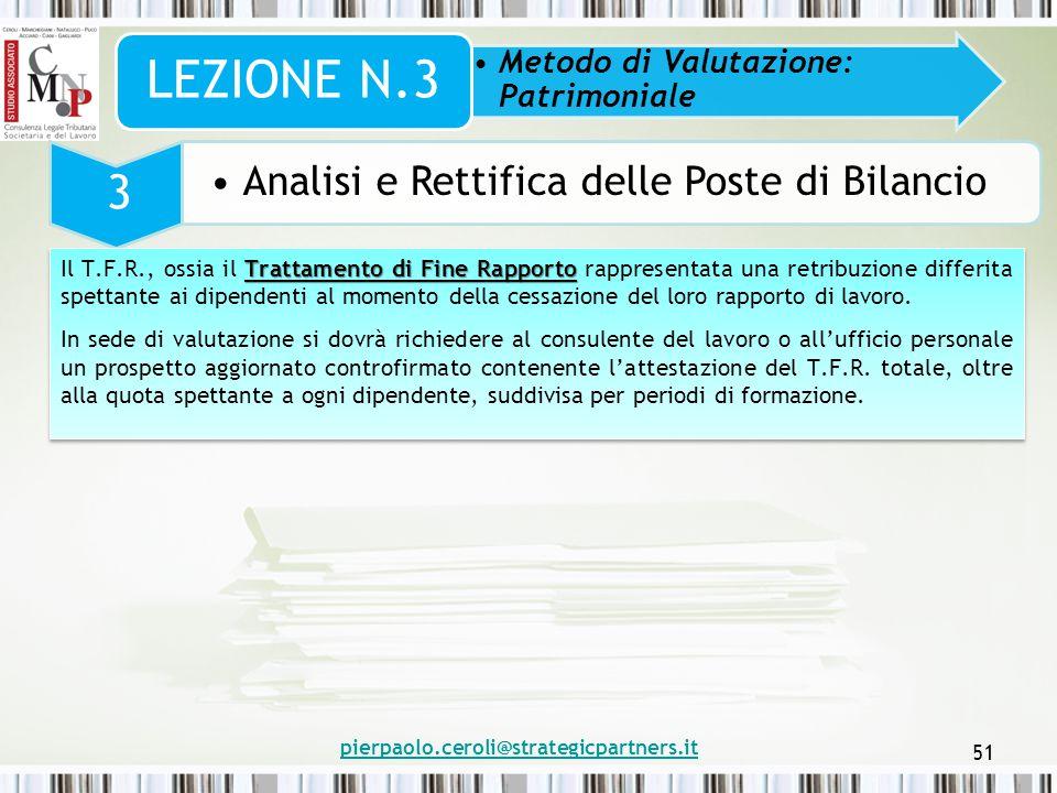 pierpaolo.ceroli@strategicpartners.it 51 Metodo di Valutazione: Patrimoniale LEZIONE N.3 3 Analisi e Rettifica delle Poste di Bilancio Trattamento di