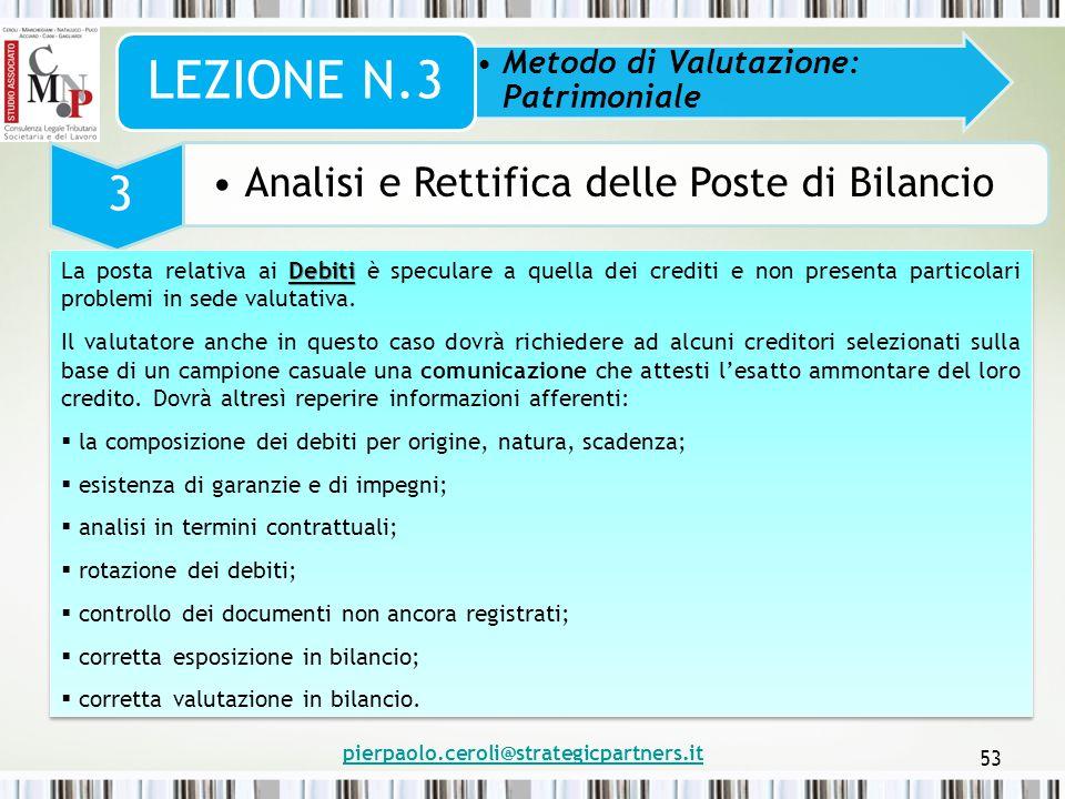 pierpaolo.ceroli@strategicpartners.it 53 Metodo di Valutazione: Patrimoniale LEZIONE N.3 3 Analisi e Rettifica delle Poste di Bilancio Debiti La posta