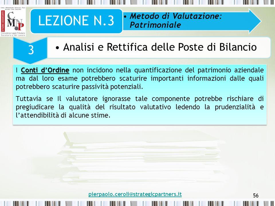 pierpaolo.ceroli@strategicpartners.it 56 Metodo di Valutazione: Patrimoniale LEZIONE N.3 3 Analisi e Rettifica delle Poste di Bilancio Conti d'Ordine
