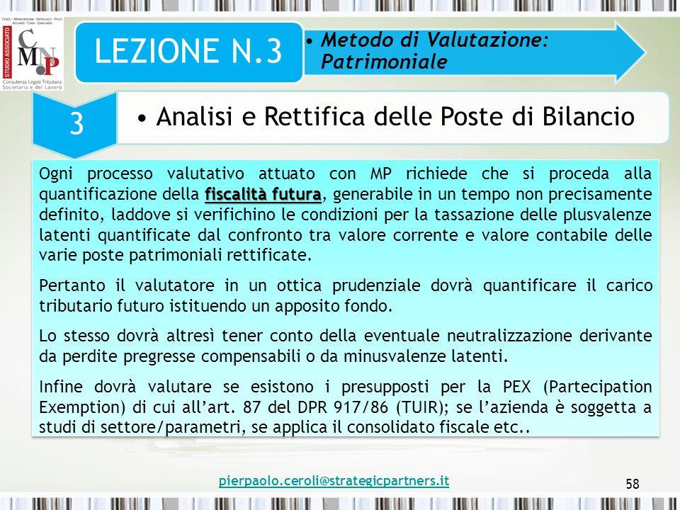 pierpaolo.ceroli@strategicpartners.it 58 Metodo di Valutazione: Patrimoniale LEZIONE N.3 3 Analisi e Rettifica delle Poste di Bilancio fiscalità futur