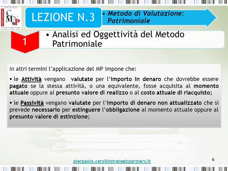 pierpaolo.ceroli@strategicpartners.it 6 Metodo di Valutazione: Patrimoniale LEZIONE N.3 1 Analisi ed Oggettività del Metodo Patrimoniale In altri term