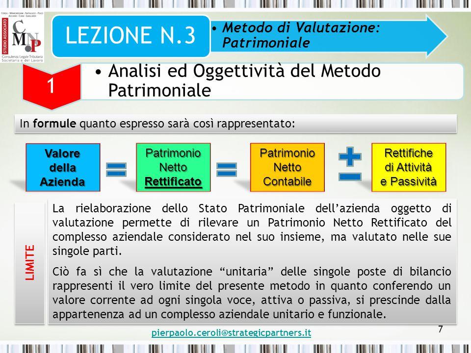 pierpaolo.ceroli@strategicpartners.it 7 Metodo di Valutazione: Patrimoniale LEZIONE N.3 1 Analisi ed Oggettività del Metodo Patrimoniale In formule qu
