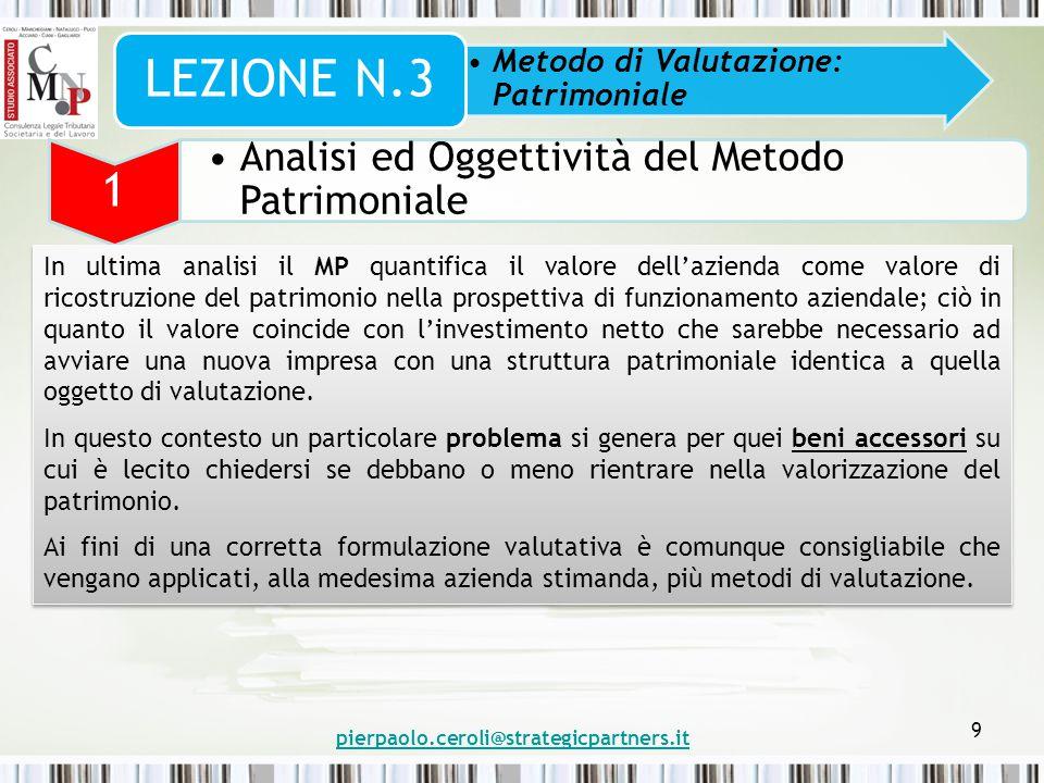 pierpaolo.ceroli@strategicpartners.it 9 Metodo di Valutazione: Patrimoniale LEZIONE N.3 1 Analisi ed Oggettività del Metodo Patrimoniale In ultima ana