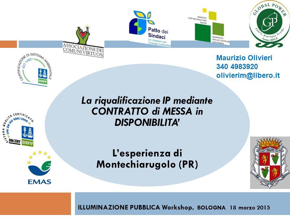 La riqualificazione IP mediante CONTRATTO di MESSA in DISPONIBILITA' L'esperienza di Montechiarugolo (PR) ILLUMINAZIONE PUBBLICA Workshop, BOLOGNA 18