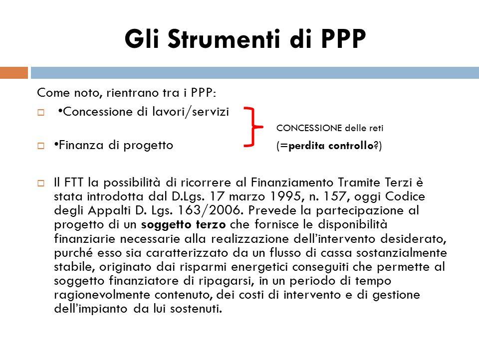 Gli Strumenti di PPP Come noto, rientrano tra i PPP:  Concessione di lavori/servizi CONCESSIONE delle reti  Finanza di progetto (=perdita controllo?