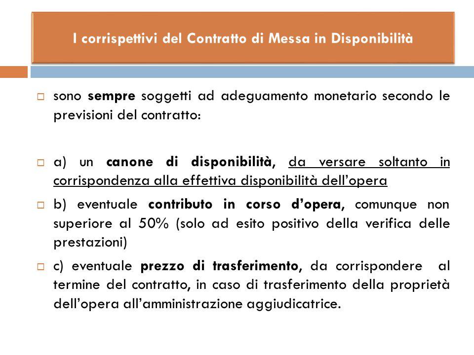  sono sempre soggetti ad adeguamento monetario secondo le previsioni del contratto:  a) un canone di disponibilità, da versare soltanto in corrispon