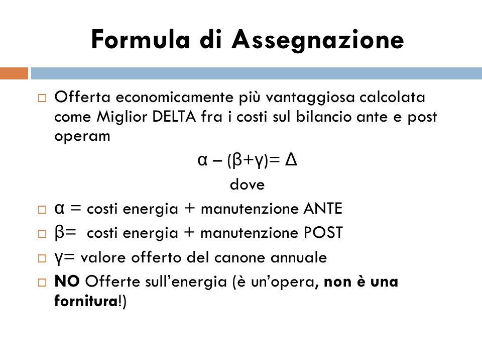 Formula di Assegnazione  Offerta economicamente più vantaggiosa calcolata come Miglior DELTA fra i costi sul bilancio ante e post operam α – ( β + γ