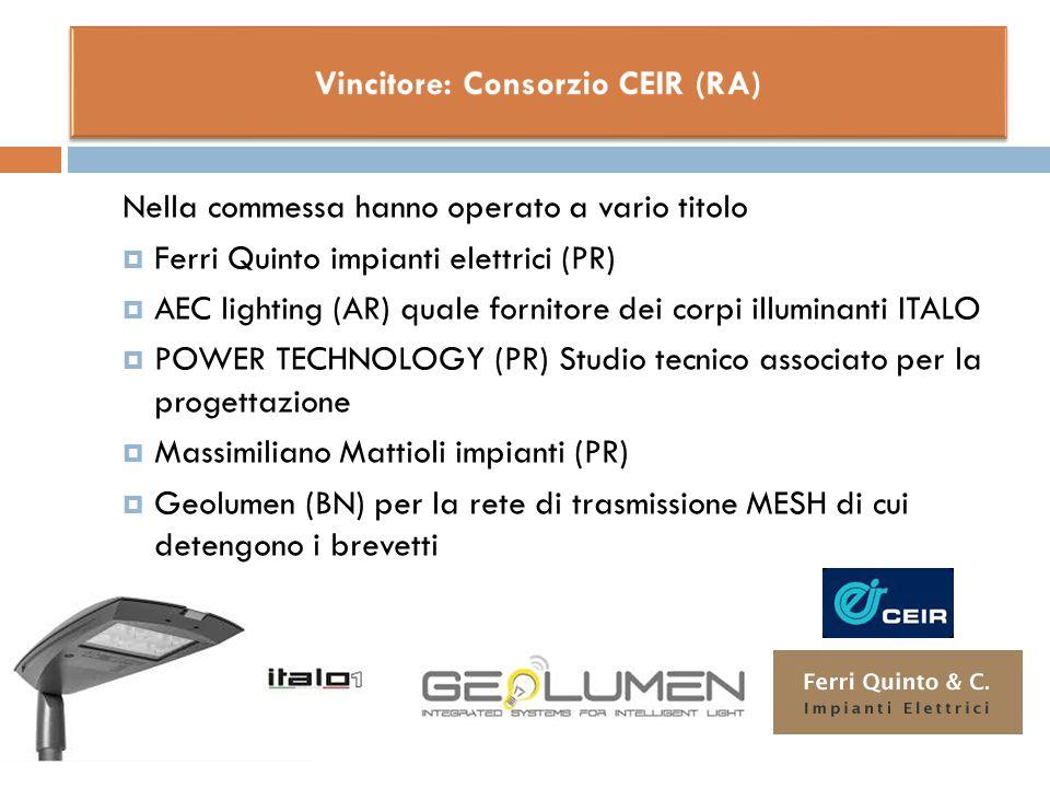 Nella commessa hanno operato a vario titolo  Ferri Quinto impianti elettrici (PR)  AEC lighting (AR) quale fornitore dei corpi illuminanti ITALO  P