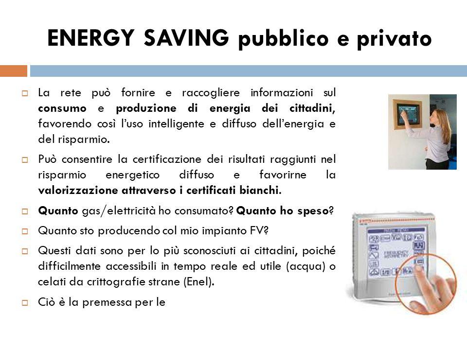  La rete può fornire e raccogliere informazioni sul consumo e produzione di energia dei cittadini, favorendo così l'uso intelligente e diffuso dell'e