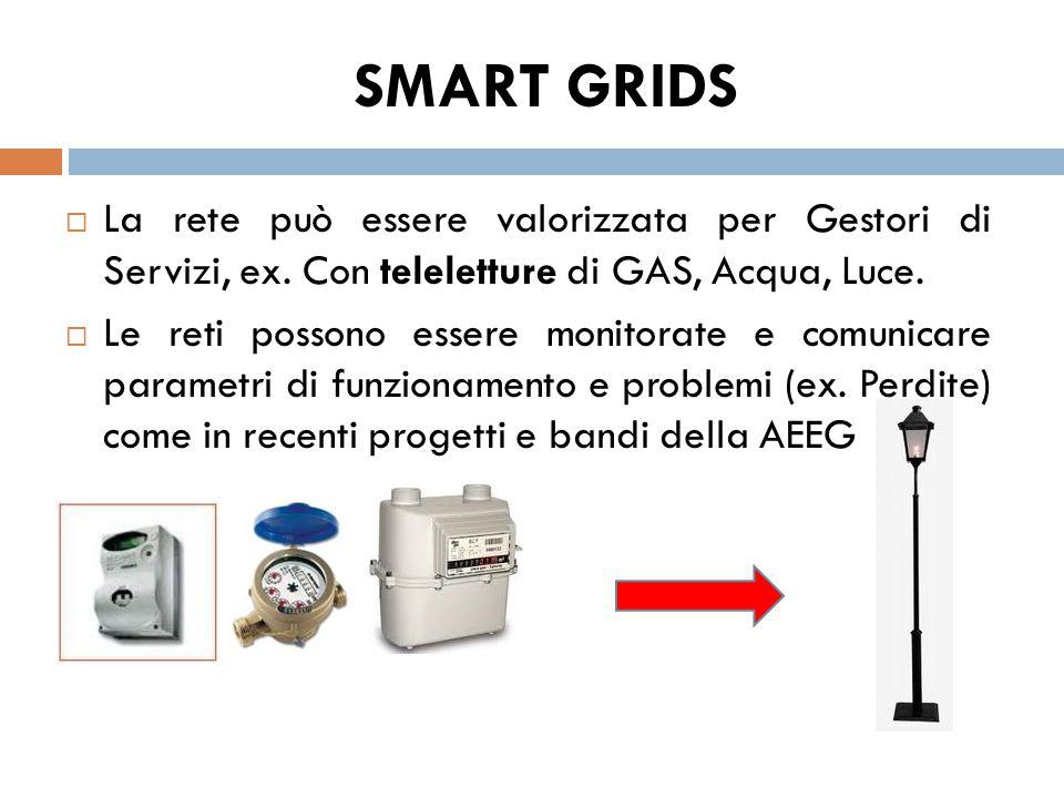  La rete può essere valorizzata per Gestori di Servizi, ex. Con teleletture di GAS, Acqua, Luce.  Le reti possono essere monitorate e comunicare par