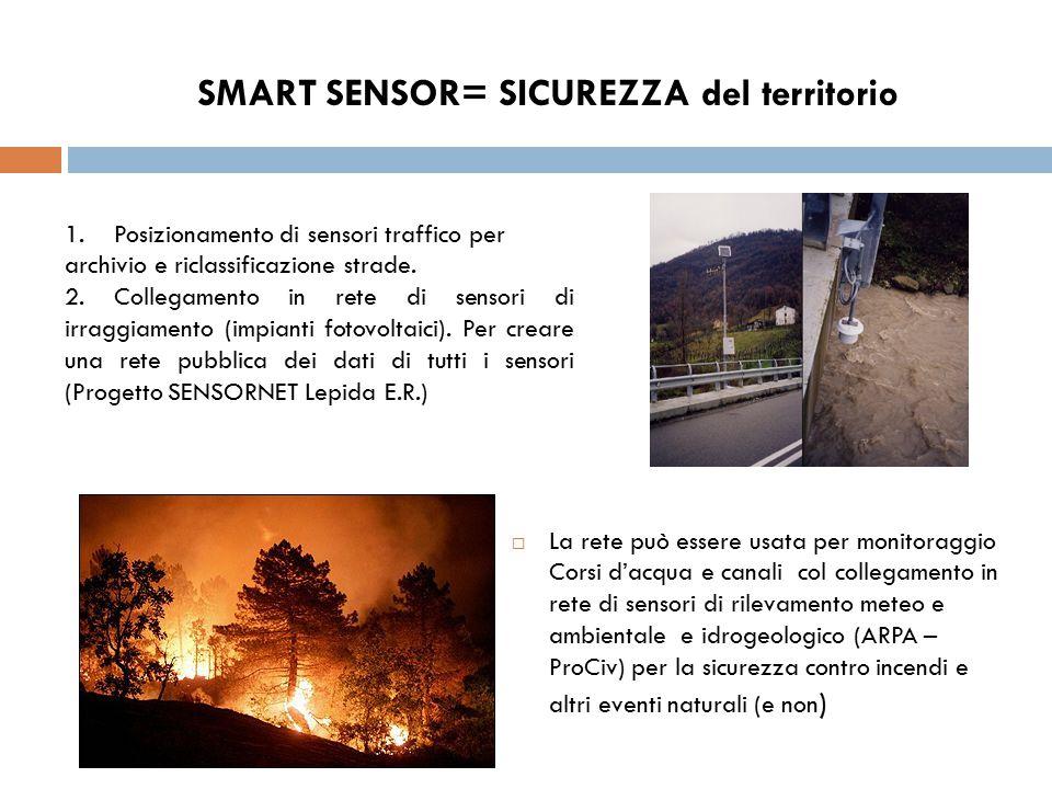 SMART SENSOR= SICUREZZA del territorio  La rete può essere usata per monitoraggio Corsi d'acqua e canali col collegamento in rete di sensori di rilev