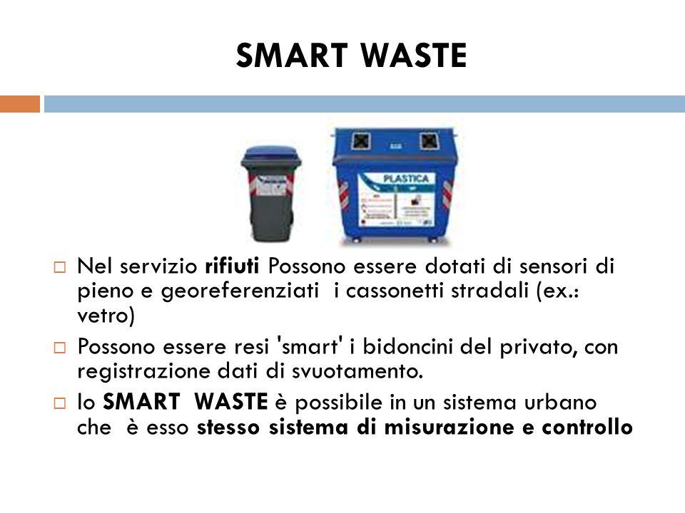 SMART WASTE  Nel servizio rifiuti Possono essere dotati di sensori di pieno e georeferenziati i cassonetti stradali (ex.: vetro)  Possono essere res