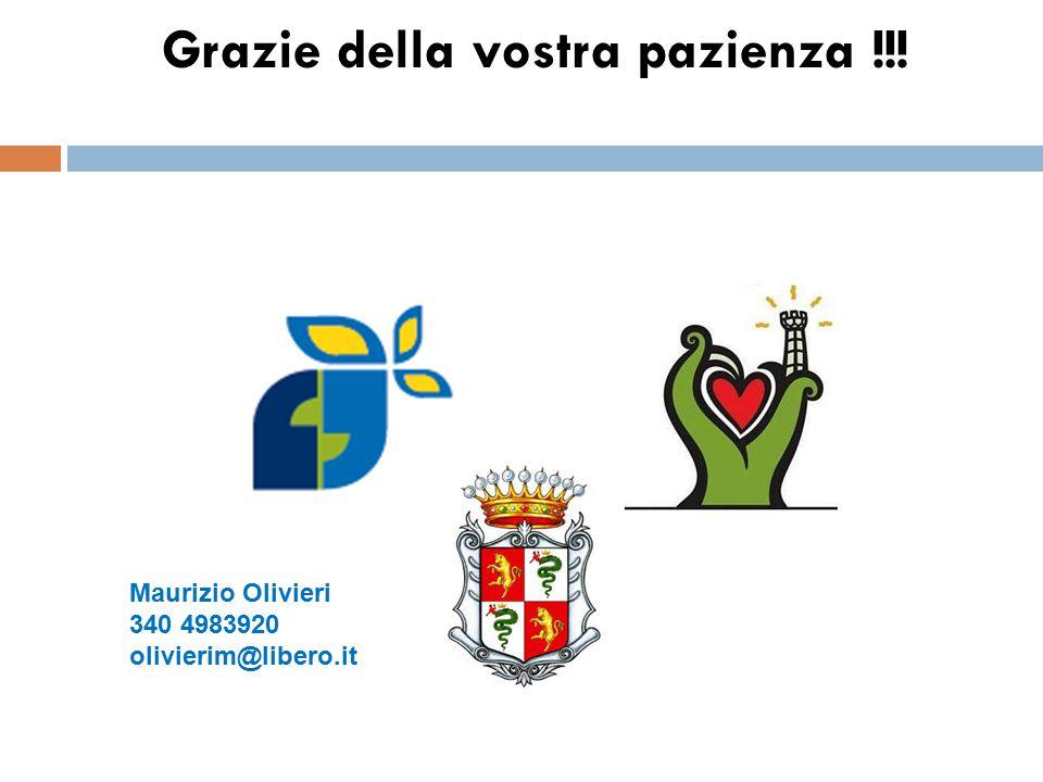 Grazie della vostra pazienza !!! Maurizio Olivieri 340 4983920 olivierim@libero.it