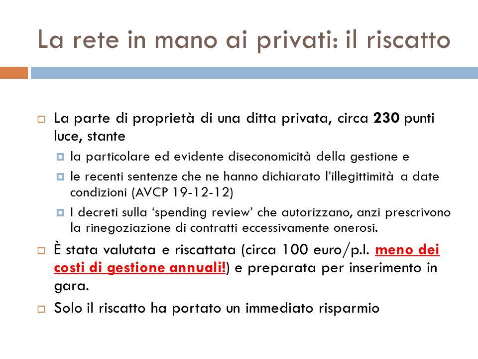 La rete in mano ai privati: il riscatto  La parte di proprietà di una ditta privata, circa 230 punti luce, stante  la particolare ed evidente diseco