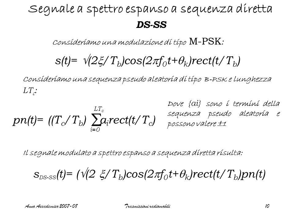 Anno Accademico 2007-08Trasmissioni radiomobili10 Segnale a spettro espanso a sequenza diretta DS-SS Consideriamo una modulazione di tipo M-PSK : Consideriamo una sequenza pseudo aleatoria di tipo B-PSK e lunghezza LT c : pn(t)= ((T c /T b ) a i rect(t/T c )  i=0 LT c Dove {ai} sono i termini della sequenza pseudo aleatoria e possono valere  1 Il segnale modulato a spettro espanso a sequenza diretta risulta: s(t)=  (2  /T b )cos(2  f 0 t+  k )rect(t/T b ) s DS-SS (t)= (  (2  /T b )cos(2  f 0 t+  k )rect(t/T b )pn(t)